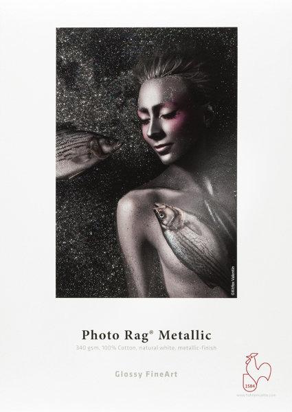 Hahnemühle Photo Rag® Metallic 100% Baumwolle, naturweiß, hochglänzendes Metallic-Finish DIN A4 340gsm 25 Blatt