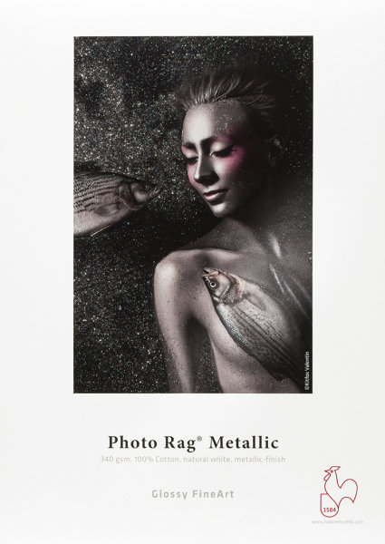 Hahnemühle Photo Rag® Metallic 100% Baumwolle, naturweiß, hochglänzendes Metallic-Finish 1,270x12m 340gsm 1 Rolle 3 Zoll