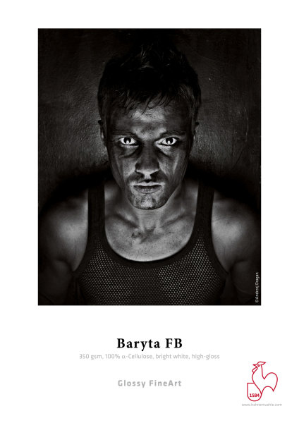 Hahnemühle Baryta FB 350 gsm, 100% a-Cellulose, bright white, DIN A3+ 350gsm 25 Blatt