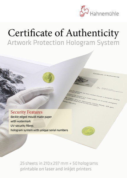 Hahnemühle Certificate Of Authenticity 150g/m², DIN A4, 25Bl./50Hologr.